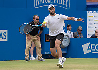 Tennis - 2017 Aegon Championships [Queen's Club Championship] - Day Four, Thursday <br /> <br /> Men's Singles: Round of 16 - Jordan THOMPSON (AUS) vs Sam QUERREY (USA)<br /> <br /> Jordan Thompson (AUS) stretches to reach the ball at Queens Club<br /> <br /> COLORSPORT/DANIEL BEARHAM