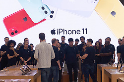 © Licensed to London News Pictures. 20/09/2019. London, UK.  Apple sales staff have a meeting before the new Apple iPhone 11 and Watch Series 5  go on sale today at at store.  Photo credit: Ray Tang/LNP