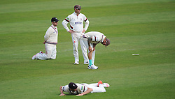 Somerset look on in despair after a chance goes down.  - Mandatory byline: Alex Davidson/JMP - 07966386802 - 12/09/2015 - CRICKET - The County Ground -Taunton,England - Somerset CCC v Hampshire CCC - Day 4