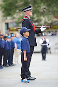 Celebration of record number of young volunteer Police cadets in London aged 10-19 at a ceremony in Trafalgar Square, London, Great Britain 3rd August 2015 <br />  <br /> The Mayor of London Boris Johnson and the Metropolitan Chief Police Commissioner Sir Bernard Hogan-Howe made speeches and met some of the volunteers. <br /> <br /> The volunteer cadet is Mateo aged 10 from Kensington &amp; Chelsea area <br /> <br /> Photograph by Elliott Franks <br /> Image licensed to Elliott Franks Photography Services