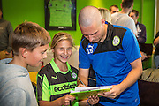 Forest Green Rovers Liam Noble (15) signs autographs for young fans during the Vanarama National League match between Forest Green Rovers and Bromley FC at the New Lawn, Forest Green, United Kingdom on 17 September 2016. Photo by Shane Healey.
