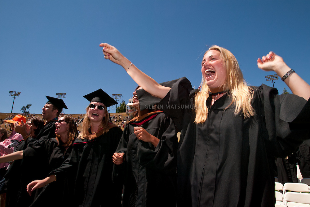 Stanford undergraduate commencement graduation ceremonies at Stanford Stadium.