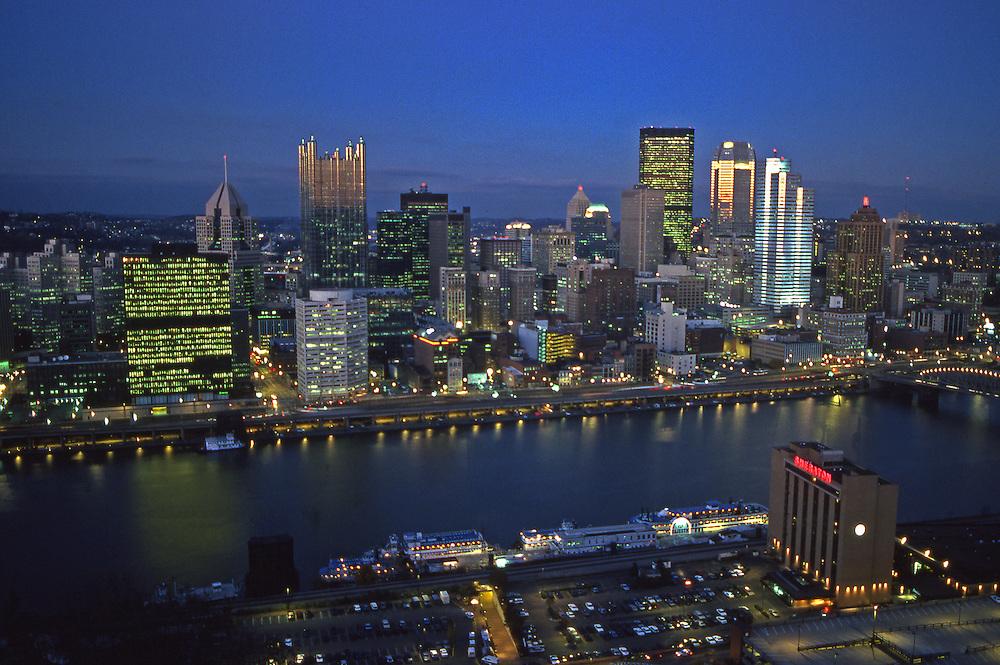 Pittsburgh, PA, Skyline, from Mt. Washington, Night Light, Monongahela River
