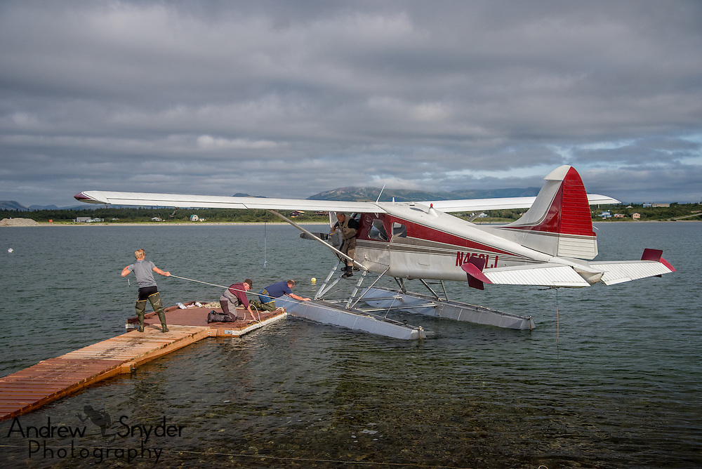Our float plane, a 1954 Beaver, being loaded up for a day with the bears - Illiamna, Alaska