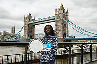 Mary Keitany KEN the Women's winner of the Abbott World Marathon Majors Series XI at a photocall and press conference at the Guoman Tower Hotel for the winners of the Virgin Money London Marathon, 23 April 2018.<br /> <br /> Photo: Thomas Lovelock for Virgin Money London Marathon<br /> <br /> For further information: media@londonmarathonevents.co.uk
