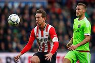 20-03-2016 VOETBAL:PSV-AJAX:EINDHOVEN<br /> Mike van der Hoorn van Ajax  in duel met Luuk de Jong van PSV <br /> <br /> Foto: Geert van Erven