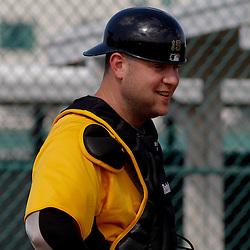 February 21, 2011; Bradenton, FL, USA; Pittsburgh Pirates catcher Chris Snyder (19) during spring training at Pirate City minor league training complex.  Mandatory Credit: Derick E. Hingle