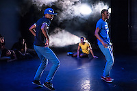 Life Of A Shady, part of Dancehall Takeover at the Lilian Baylis Theatre, London. 13th February 2014. <br /> <br /> Sadler's Wells blurb follows: After two successful seasons Wild Card returns to Sadler&rsquo;s Wells this Spring. This Sadler&rsquo;s Wells initiative opens up the theatre&rsquo;s Lilian Baylis Studio to the next generation of choreographers and dance makers, who are invited to curate a mixed bill evening of cutting edge work.<br /> <br /> The first of this Spring/Summer 2014 season&rsquo;s two Wild Card evenings is curated by dancer, choreographer and Association of Dance of the African Diaspora Trailblazer 2013-14, Cindy Claes who presents an evening entitled Dancehall Takeover: an immersion into the world of Jamaican dancehall on Thursday 13 &amp; Friday 14 February.<br /> <br /> With this evening Claes brings together comedy, street dance, and urban dance theatre to look at the roots and influence of this dynamic street dance culture from Jamaica, unknown to many and yet growing in popularity. Central to the evening is the coming together of three generations of dancehall performers and artists, including work performed and choreographed by Paradigmz; Jamaican crew, Shady Squad, who perform for the first time in the UK; the Dancehall Theatre Exchange Collective (DTX Collective) who perform a new piece choreographed by Claes and Shady Squad; and work by Claes herself. The programme also includes an installation piece created by H Patten.