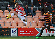 Exeter City midfielder David Wheeler controls a high ball during the Sky Bet League 2 match between Barnet and Exeter City at The Hive Stadium, London, England on 31 October 2015. Photo by Bennett Dean.