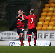 06/10/2017 - St Johnstone v Dundee - Dave Mackay testimonial at McDiarmid Park, Perth, Picture by David Young - Steven Milne is congratulated after scoring by Jack Lambert