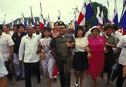 May 30, 1988; Panama City, PANAMA;  Feared Panamanian leader General MANUEL ANTONIO NORIEGA with his supporters. In December 1989 the U.S. armed forces invaded Panama, captured Noriega and brought him to Miami for trial. He was convicted in 1992 on eight counts of racketeering, drug trafficking and money laundering and is serving a 40-year sentence in a U.S. feredal penitentiary.  (Credit Image: © Bill Gentile/ZUMAPRESS.com)
