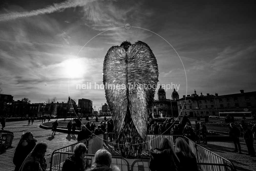 Queens Gardens, Kingston Upon Hull, East Yorkshire, United Kingdom, 06 February, 2019. Pictured: Knife Angel, sculpture by Alfie Bradley