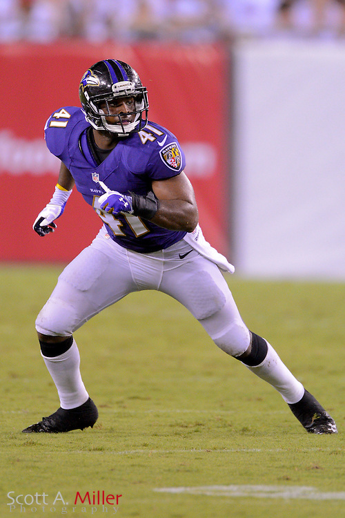 Baltimore Ravens defensive back Anthony Levine (41) during a preseason NFL game at Raymond James Stadium on Aug. 8, 2013 in Tampa, Florida. <br /> <br /> &copy;2013 Scott A. Miller