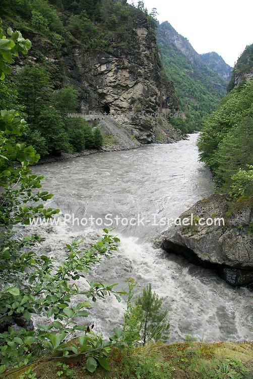 Georgia, Svaneti region, The Inguri (Enguri) river