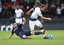 BRITAIN-LONDON-FOOTBALL-CHAPIONS LEAGUE-HOTSPUR VS EINDHOVEN.(181106) -- LONDON, Nov. 6, 2018  Tottenham Hotspur's Harry Kane (R) is tackled during the UEFA Champions League match between Tottenham Hotspur and PSV Eindhoven in London, Britain on Nov. 6, 2018. Tottenham Hotspur won 2-1.  FOR EDITORIAL USE ONLY. NOT FOR SALE FOR MARKETING OR ADVERTISING CAMPAIGNS. NO USE WITH UNAUTHORIZED AUDIO, VIDEO, DATA, FIXTURE LISTS, CLUBLEAGUE LOGOS OR ''LIVE'' SERVICES. ONLINE IN-MATCH USE LIMITED TO 45 IMAGES, NO VIDEO EMULATION. NO USE IN BETTING, GAMES OR SINGLE CLUBLEAGUEPLAYER PUBLICATIONS. (Credit Image: © Xinhua via ZUMA Wire)