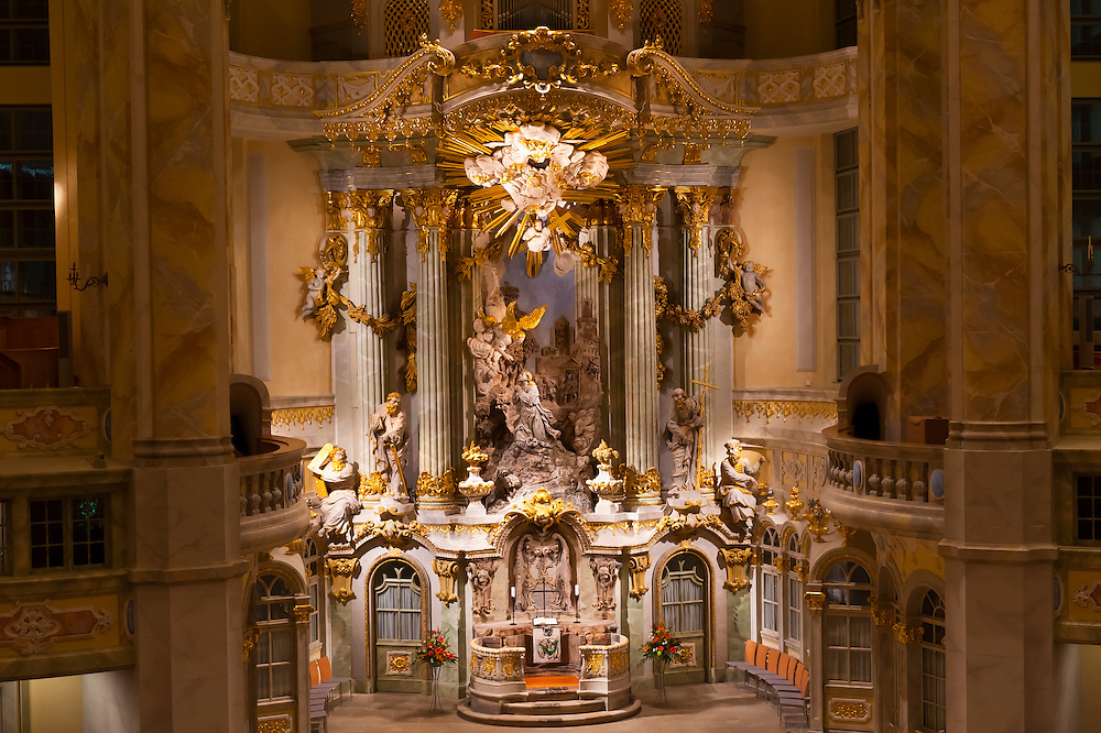 Interior view of the Frauenkirche (church), Dresden, Saxony, Germany