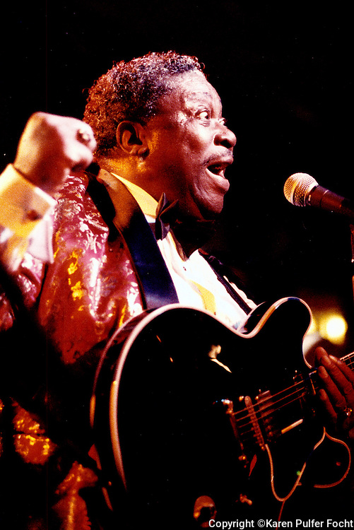 "Aug. 7, 1993 - Singer BB King takes the stage to record a love album at his namesake club on Beale Street. King began his career on the historic Beale Street and was given the name ""Beale Street Blues Boy."" (Karen Pulfer Focht)"