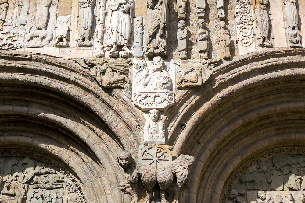 SANTIAGO DE COMPOSTELA, SPAIN - October 14th 2017 - Stone carved statue of St. James on the side of the Santiago de Compostela, Galicia, Northern Spain.