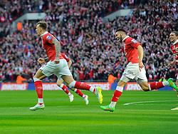 Bristol City's Aden Flint celebrates scoring the opening goal of the game with Bristol City's Derrick Williams  - Photo mandatory by-line: Joe Meredith/JMP - Mobile: 07966 386802 - 22/03/2015 - SPORT - Football - London - Wembley Stadium - Bristol City v Walsall - Johnstone Paint Trophy Final