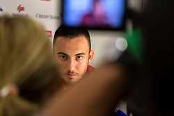 04.03.2014, AFG Arena, St. Gallen, SUI, Pressekonferenz der Schweizer Nationalmannschaft, vor dem Testspiel gegen Kroatien, im Bild Josip Drmic (SUI) (Claudia Minder/freshfocus) // during a press conference of swiss national football team prior to the international frindley against Croatia at the AFG Arena in St. Gallen, Switzerland on 2014/03/04. EXPA Pictures © 2014, PhotoCredit: EXPA/ Freshfocus/ Claudia Minder<br /> <br /> *****ATTENTION - for AUT, SLO, CRO, SRB, BIH, MAZ only*****