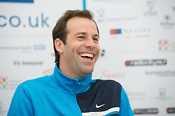 LIVERPOOL, ENGLAND - Thursday, June 21, 2012: Greg Rusedski (GRB) during a press conference on the opening day of the Medicash Liverpool International Tennis Tournament at Calderstones Park. (Pic by David Rawcliffe/Propaganda)