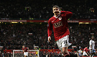 Photo: Paul Thomas.<br /> Manchester United v Aston Villa. The FA Cup. 07/01/2007.<br /> <br /> Ole Gunnar Solskjaer of Man Utd celebrates his winning goal by kissing his wedding band.