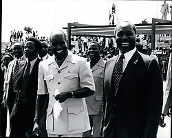 1974 - Smiling President Kenneth Kaunda of Zambia left with President Daniel Arapp Moi of Kenya during President Kaunda visit to Nairobi. (Credit Image: © Keystone Pictures USA/ZUMAPRESS.com)