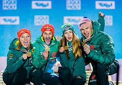 02.03.2019, Seefeld, AUT, FIS Weltmeisterschaften Ski Nordisch, Seefeld 2019, Skisprung, Mixed Team, Siegerehrung, im Bild Weltmeister und Goldmedaillengewinner Katharina Althaus (GER), Markus Eisenbichler (GER), Juliane Seyfarth (GER) // World champion and Gold medalist Katharina Althaus Markus Eisenbichler Juliane Seyfarth Karl Geiger of Germany during the winner Ceremony for the mixed team competition in ski jumping of nordic combination of FIS Nordic Ski World Championships 2019. Seefeld, Austria on 2019/03/02. EXPA Pictures © 2019, PhotoCredit: EXPA/ Stefan Adelsberger