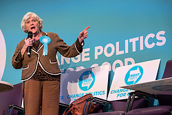 © Licensed to London News Pictures. 08/11/2019. Newport, Wales, UK. General Election 2019; ANN WIDDECOMBE speaks at a Brexit Party rally with Nigel Farage, leader of the Brexit Party, at the International Convention Centre Wales in Newport, as part of his nationwide General Election campaign tour. Photo credit: Simon Chapman/LNP.