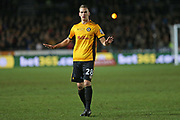 Newport  Mickey Demetriou (28) calming things down during the The FA Cup 4th round match between Newport County and Tottenham Hotspur at Rodney Parade, Newport, Wales on 27 January 2018. Photo by Gary Learmonth.