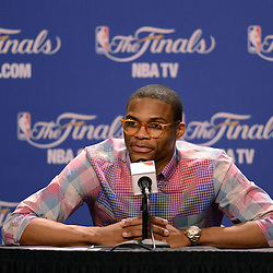 Jun 17, 2012; Miam, FL, USA; Oklahoma City Thunder point guard Russell Westbrook during a post game press conference after game three in the 2012 NBA Finals against the Miami Heat at the American Airlines Arena. Miami won 91-85. Mandatory Credit: Derick E. Hingle-US PRESSWIRE
