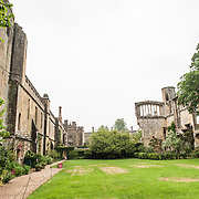 At left are the parts of Sudeley Castle that survived, while at right are some of the ruins from the parts destroyed over the years, especially during the Civil War. Sudeley Castle dates back to the 15th century, although an even older castle might have once been on the same site. It was the final home and burial place of King Henry VIII's last wife, Queen Catherine Parr (c. 1512-1548).