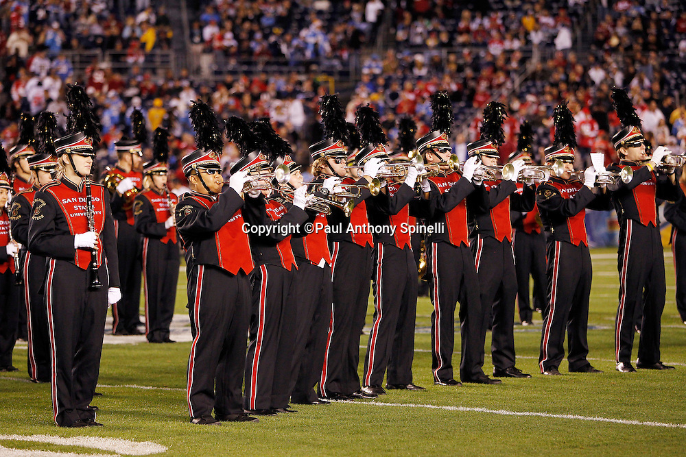 The San Diego State University Marching Band performs at the San Diego Chargers NFL week 15 football game against the San Francisco 49ers on Thursday, December 16, 2010 in San Diego, California. The Chargers won the game 34-7. (©Paul Anthony Spinelli)