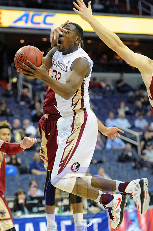 08 March 2016:  Florida State Seminoles guard Montay Brandon (32) goes to the basket despite the defensive efforts of Boston College Eagles guard Jerome Robinson (1) in the first round game of the ACC Tournament at the Verizon Center in Washington, D.C. where the Florida State Seminoles defeated the Boston College Eagles, 88-66. (Photograph by Mark Goldman/Icon Sportswire)