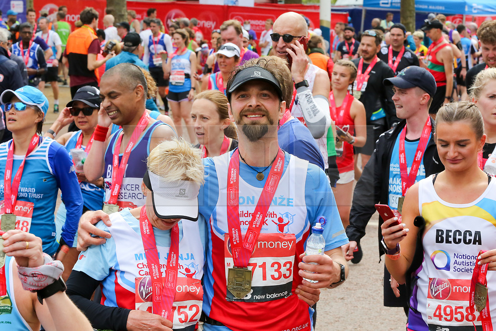 © Licensed to London News Pictures. 28/04/2019. London, UK. Runners after completing the 2019 Virgin Money London Marathon. Photo credit: Dinendra Haria/LNP