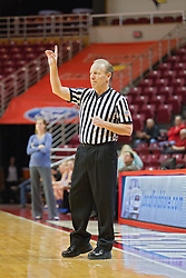 03 January 2014: Referee Bob Trammel calls for one free throw during an NCAA women's basketball game between the Drake Bulldogs and the Illinois Sate Redbirds at Redbird Arena in Normal IL