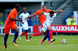 Chris Willock of England Under 20s goes past Jay Roy Grot of Netherlands Under 20s - Mandatory by-line: Robbie Stephenson/JMP - 31/08/2017 - FOOTBALL - Telford AFC - Telford, United Kingdom - England v The Netherlands - International Friendly