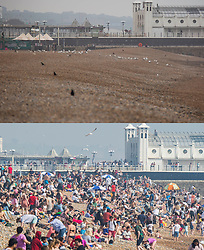 © Licensed to London News Pictures. 28/04/2018. Brighton, UK. An abandoned beach on a cold and damp day at Brighton seafront today, Saturday April 28 (TOP), compared to the same time last week, Saturday April 21st (BOTTOM), when the beach was packed in one of the hottest days on record for April. Photo credit: Hugo Michiels/LNP