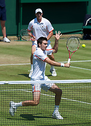 LONDON, ENGLAND - Monday, June 28, 2010: Colin Fleming (GBR) and Kenneth Skupski (GBR) during the Gentlemen's Doubles 2nd Round match on day seven of the Wimbledon Lawn Tennis Championships at the All England Lawn Tennis and Croquet Club. (Pic by David Rawcliffe/Propaganda)