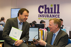 Liam O'Kelly, managing director of AirSpeed Telecom pictured with Padraig Lynch Chief Executive of Chill Insurance as they announce a €500,000 3 year contract to establish a next generation contact centre for the Insurance conpany. Pic Andres Poveda