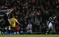 Photo: Lee Earle.<br /> Plymouth Argyle v Watford. The FA Cup. 11/03/2007.Watford's Hameur Bouazza (L) scores their first goal.