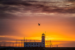 © Licensed to London News Pictures. 18/09/2019. Scarborough UK. The sun rises this morning behind Scarborough light house on the Yorkshire coast. Photo credit: Andrew McCaren/LNP