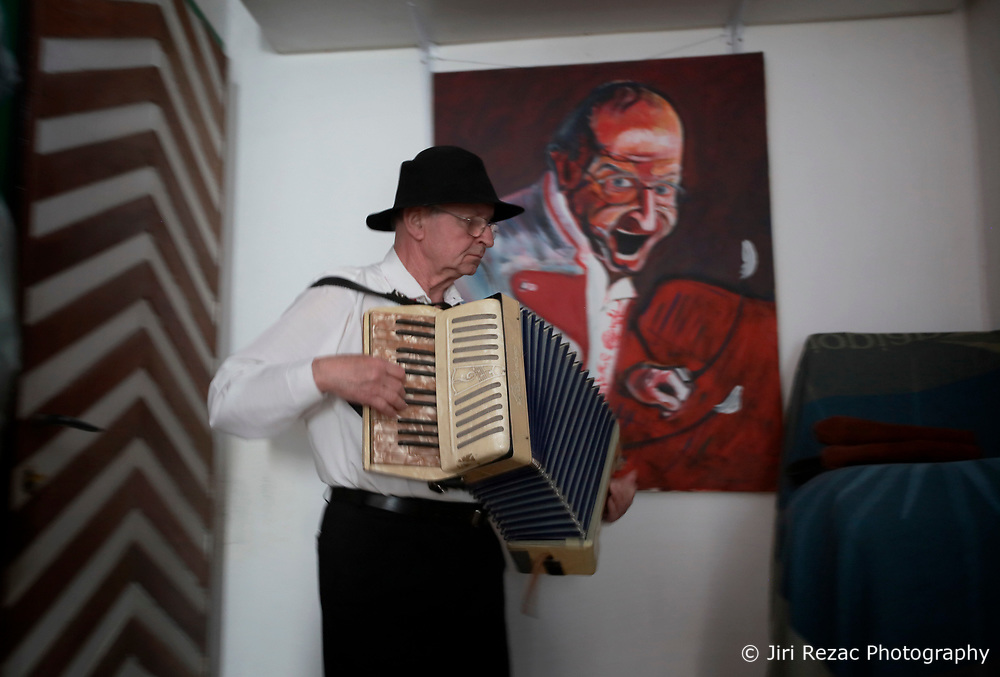 CZECH REPUBLIC MORAVIA BANOV 2APR18 - Jiri Chovanec attunes to his accordeon prior to Easter celebrations as folklore musicians  wander on their round through the village of Banov, Moravia. <br /> <br /> jre/Photo by Jiri Rezac<br /> <br /> © Jiri Rezac 2017