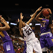 I'Tiana Taylor, (right), East Carolina, rebounds while challenged by Tyonna Williams, Temple, during the Temple Vs East Carolina Quarterfinal Basketball game during the American Women's College Basketball Championships 2015 at Mohegan Sun Arena, Uncasville, Connecticut, USA. 7th March 2015. Photo Tim Clayton