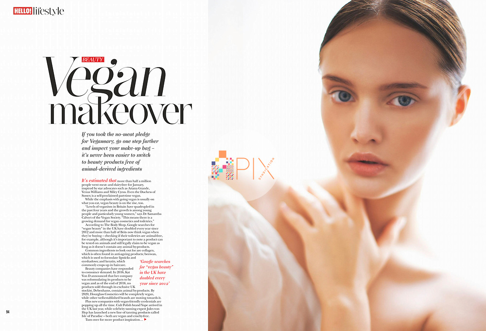 A lovely feature about choosing vegan beauty products in the February issue of Hello! magazine UK, with one of our stunning beauty pics showcasing minimal and natural makeup.<br />