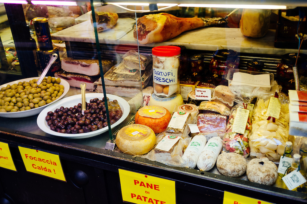 Fresh cheeses, mets and truffles in Lucca, Italy