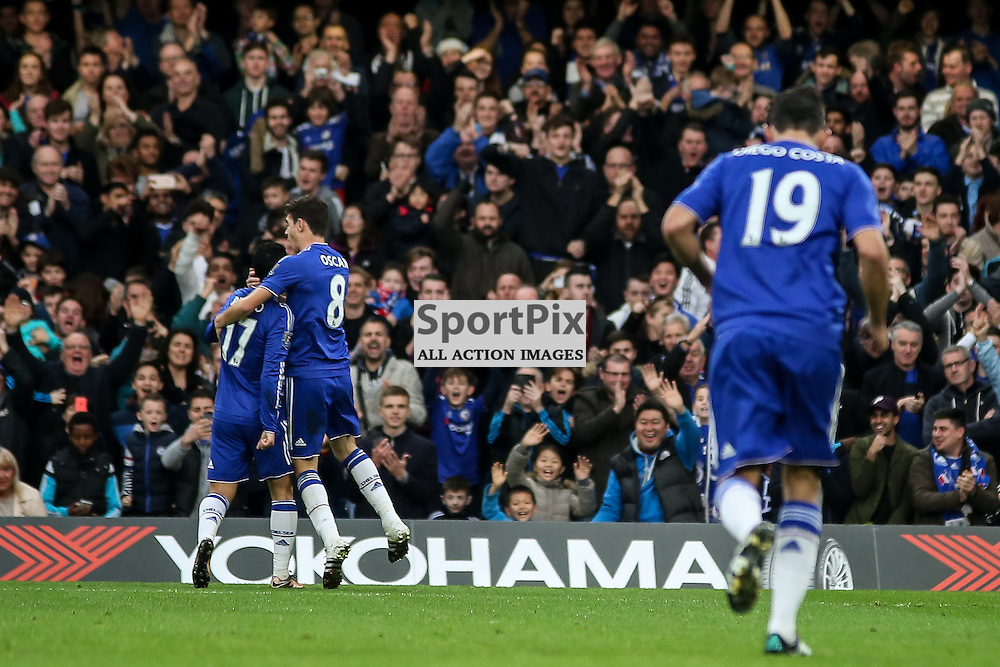 Pedro AND Oscar CELEBRATE During Chelsea vs Sunderland on Saturday the 19th December 2015.