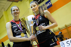 Ela Pintar of Nova KBM Branik and Iza Mlakar of Nova KBM Branik celebrate after winning during volleyball match between Nova KBM Branik Maribor and OK Luka Koper in Final of Women Slovenian Cup 2014/15, on January 18, 2015 in Sempeter v Savinjski dolini, Slovenia. Photo by Vid Ponikvar / Sportida