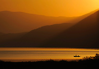 Fishermen at Lake Prespa in sunrise. Lake Prespa National Park, Albania June 2009