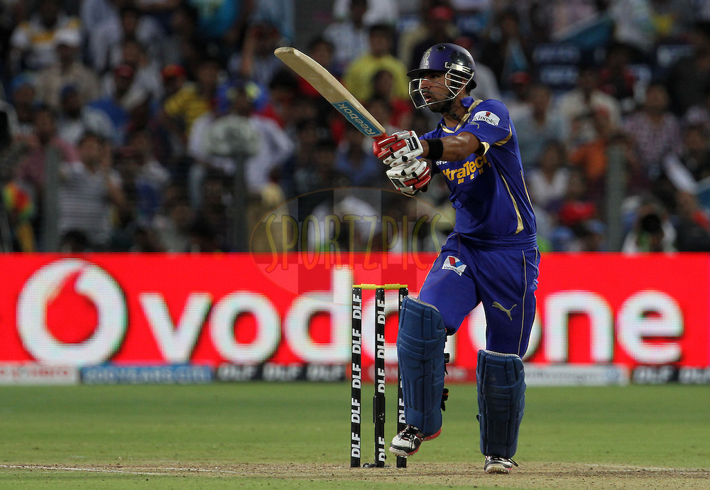 Rajasthan Royals player Ashok Menaria plays a shot during match 52 of the Indian Premier League ( IPL) 2012  between The Pune Warriors India and the Rajasthan Royals held at the Subrata Roy Sahara Stadium, Pune on the 8th May 2012..Photo by Vipin Pawar/IPL/SPORTZPICS